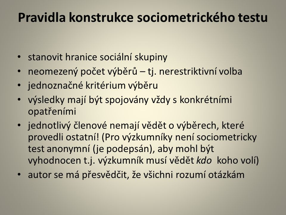 Pravidla konstrukce sociometrického testu