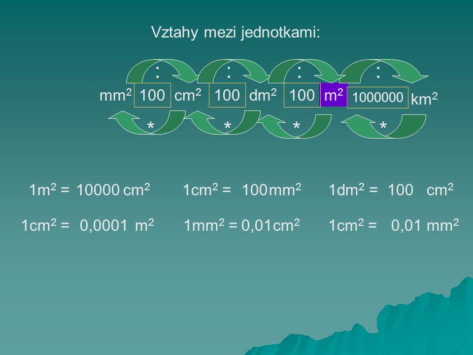 : : : : * * * * Vztahy mezi jednotkami: mm2 100 cm2 100 dm2 100 m2 km2