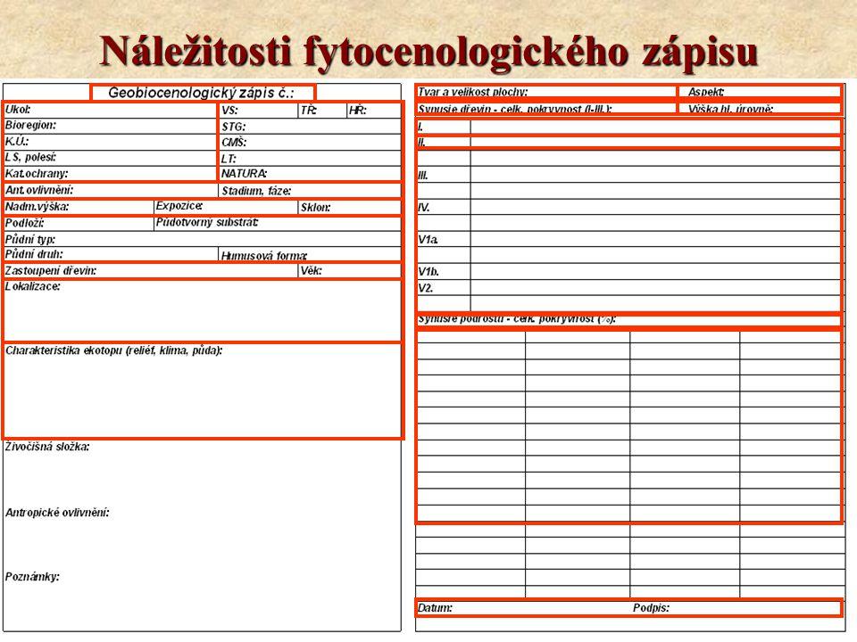 Náležitosti fytocenologického zápisu