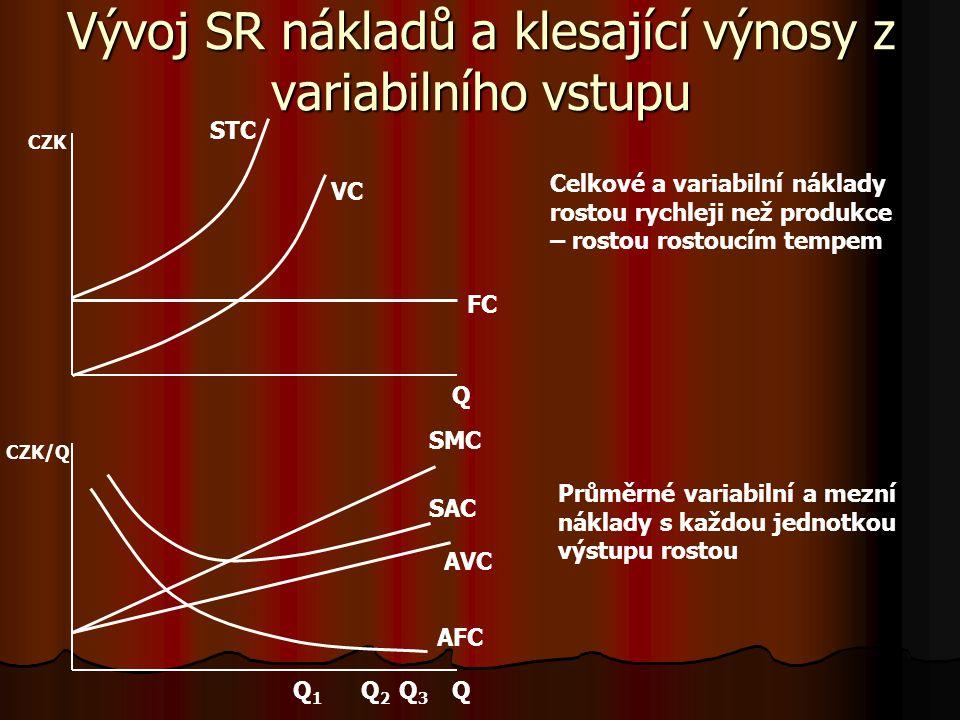 Vývoj SR nákladů a klesající výnosy z variabilního vstupu