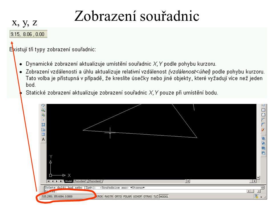 Zobrazení souřadnic x, y, z