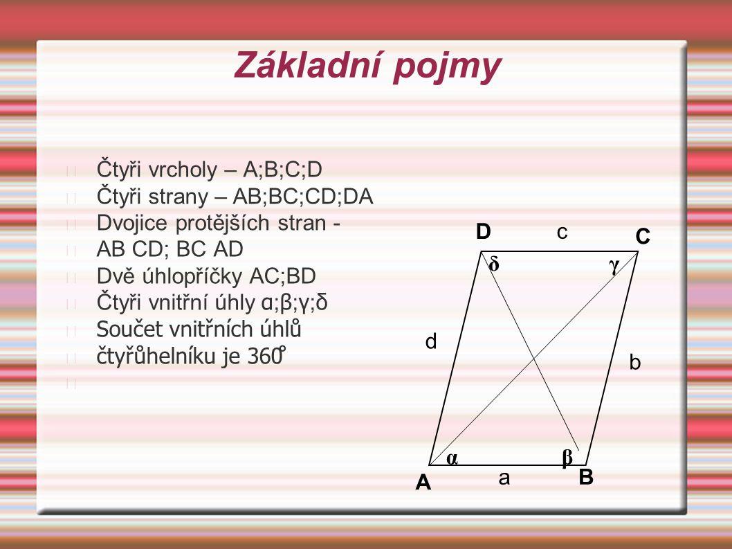 Základní pojmy Čtyři vrcholy – A;B;C;D Čtyři strany – AB;BC;CD;DA