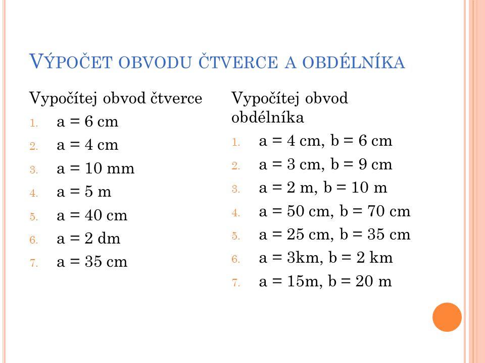 Výpočet obvodu čtverce a obdélníka