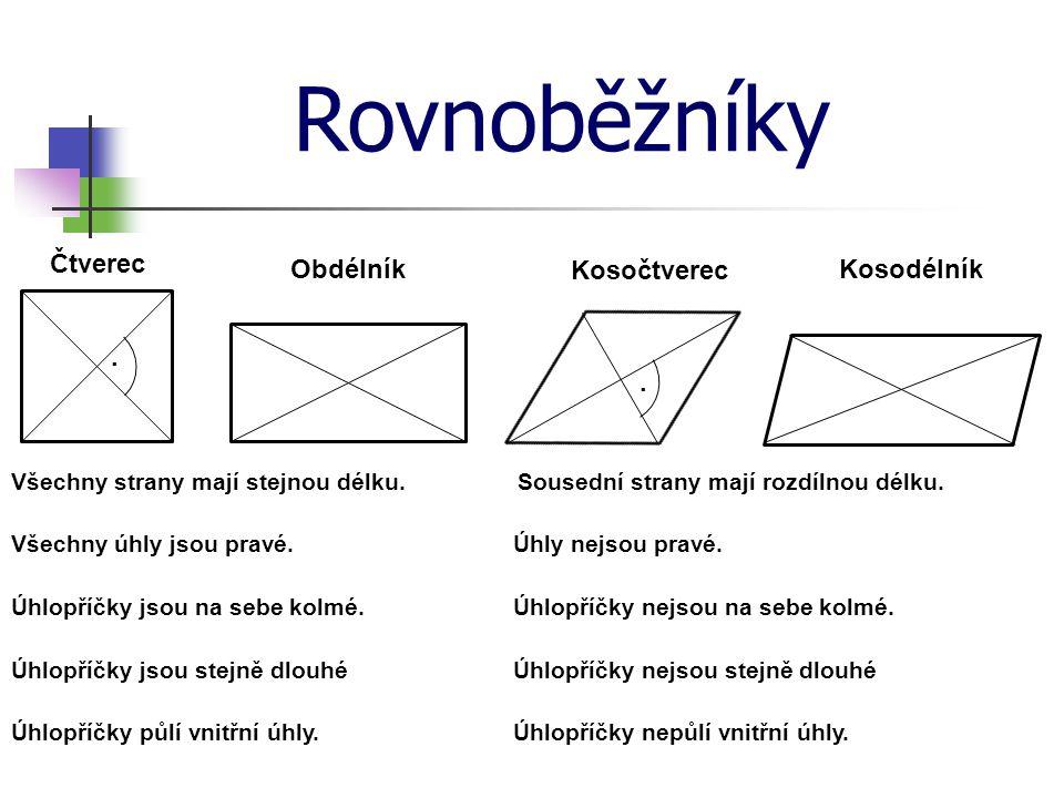 Rovnoběžníky Čtverec Obdélník Kosočtverec Kosodélník . .