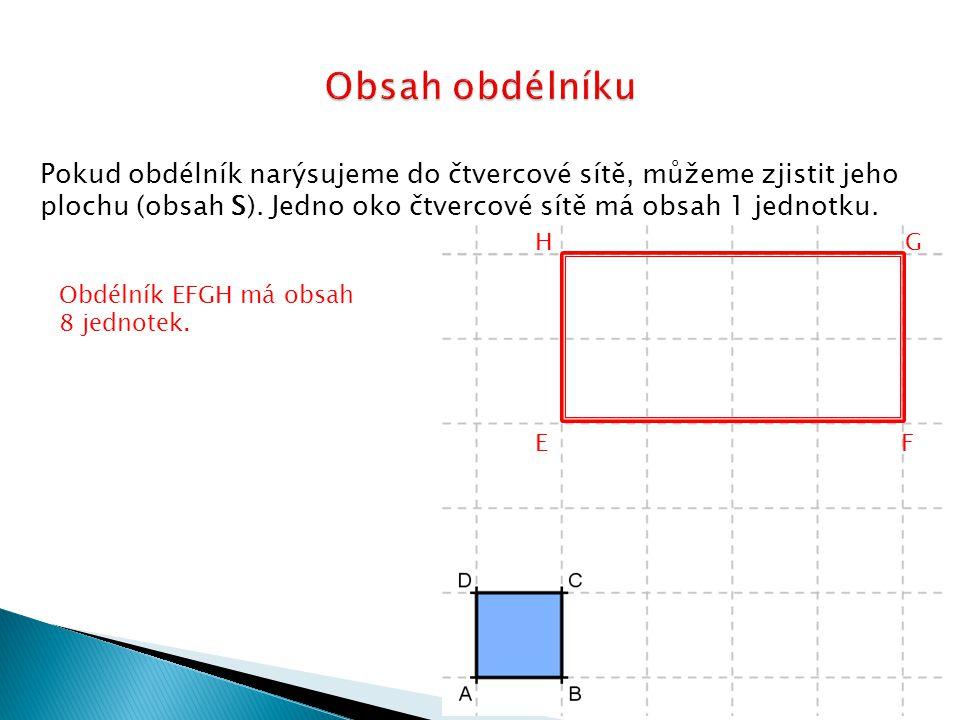 Obsah obdélníku Pokud obdélník narýsujeme do čtvercové sítě, můžeme zjistit jeho plochu (obsah S). Jedno oko čtvercové sítě má obsah 1 jednotku.