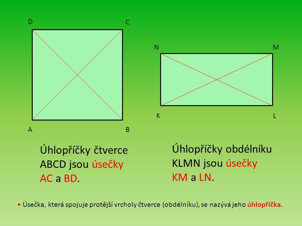 Úhlopříčky čtverce ABCD jsou úsečky AC a BD.