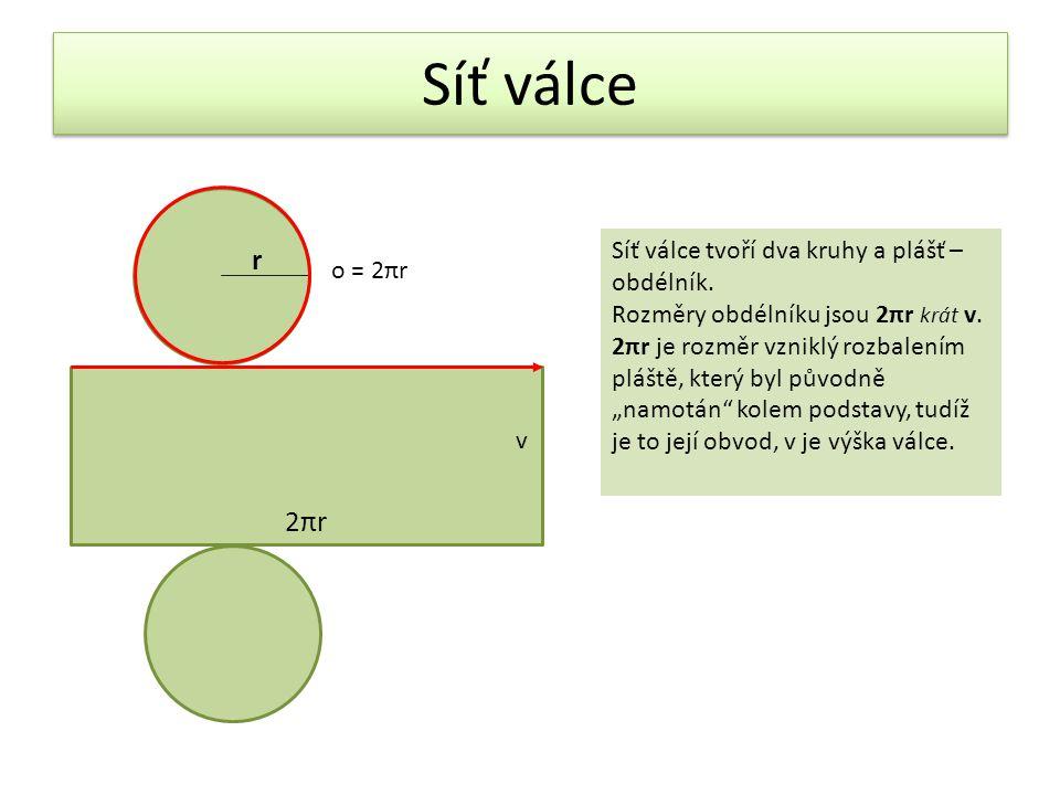 Síť válce 2πr r Síť válce tvoří dva kruhy a plášť –obdélník. o = 2πr