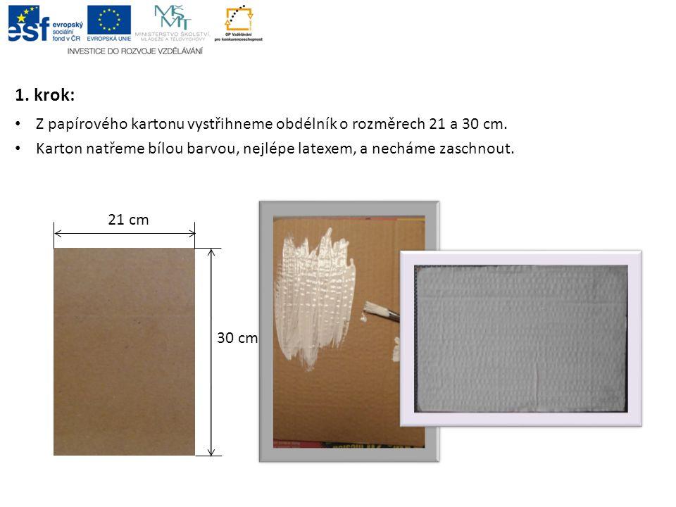 1. krok: Z papírového kartonu vystřihneme obdélník o rozměrech 21 a 30 cm. Karton natřeme bílou barvou, nejlépe latexem, a necháme zaschnout.
