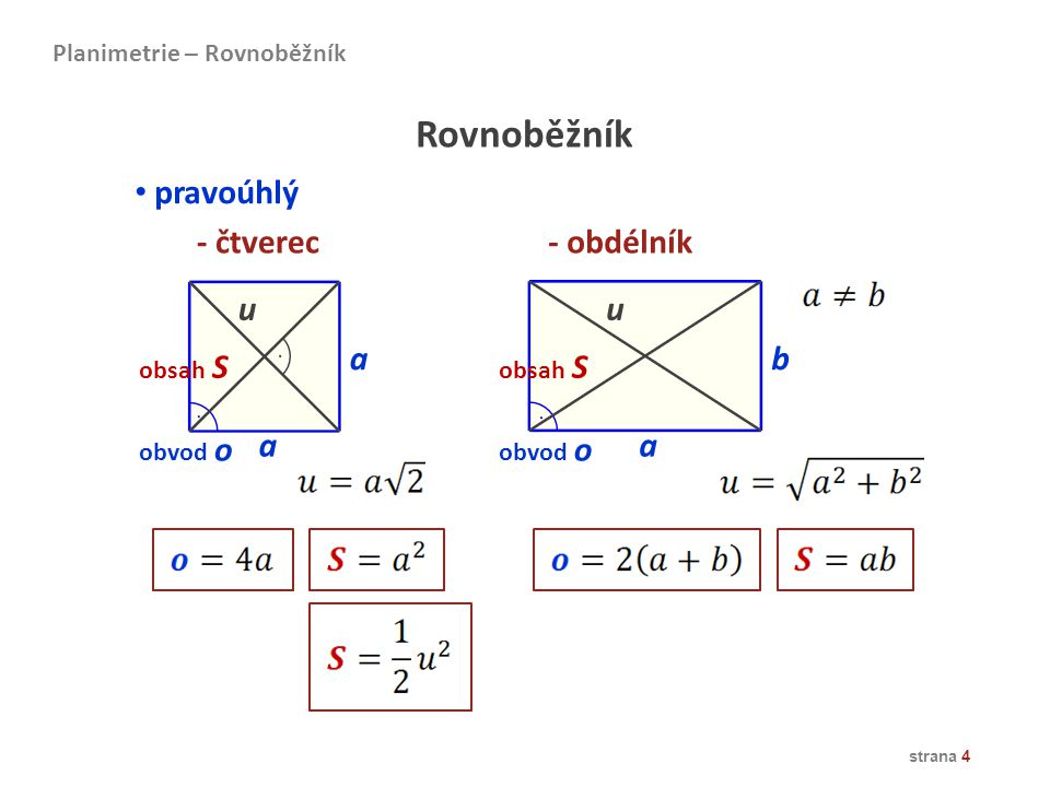 Rovnoběžník pravoúhlý - čtverec - obdélník u u a b a a