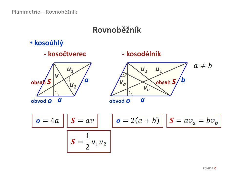 Rovnoběžník kosoúhlý - kosočtverec - kosodélník u1 u2 u1 v a b va u2