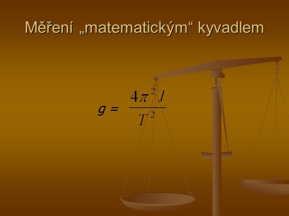 """Měření """"matematickým kyvadlem"""