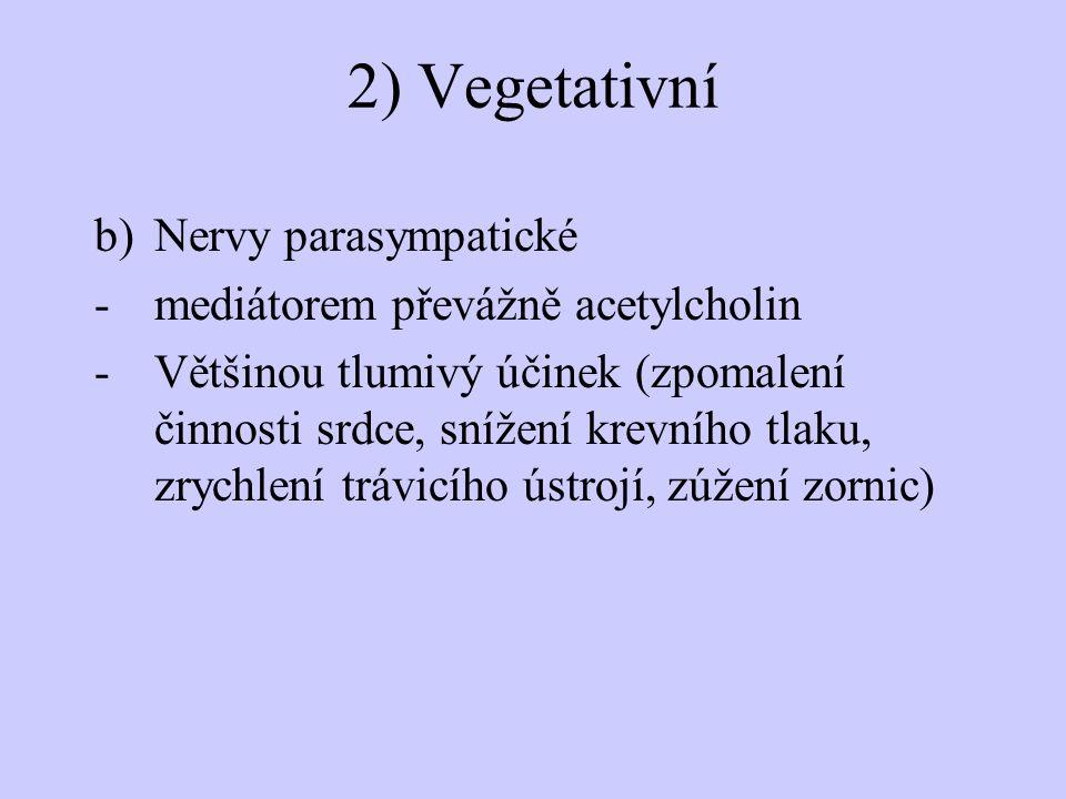 2) Vegetativní Nervy parasympatické mediátorem převážně acetylcholin