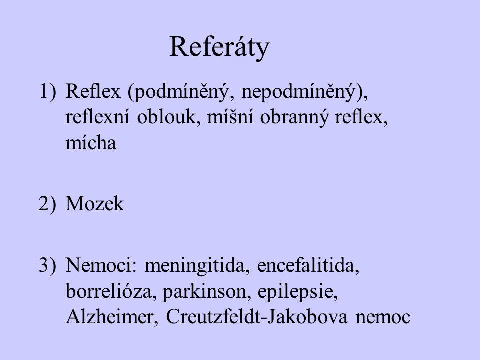 Referáty Reflex (podmíněný, nepodmíněný), reflexní oblouk, míšní obranný reflex, mícha. Mozek.