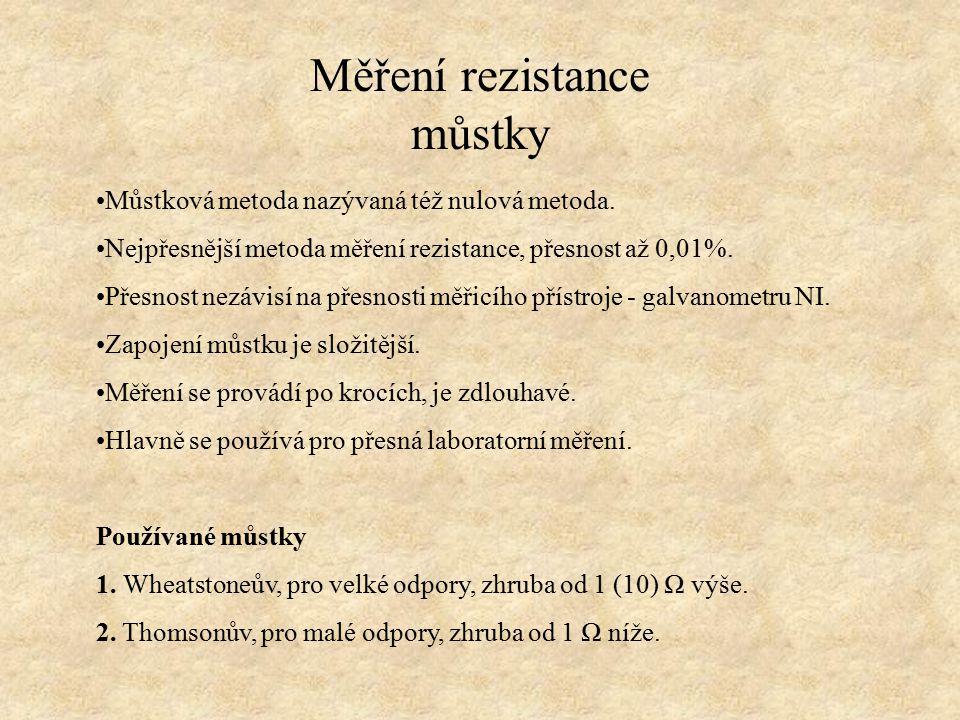 Měření rezistance můstky