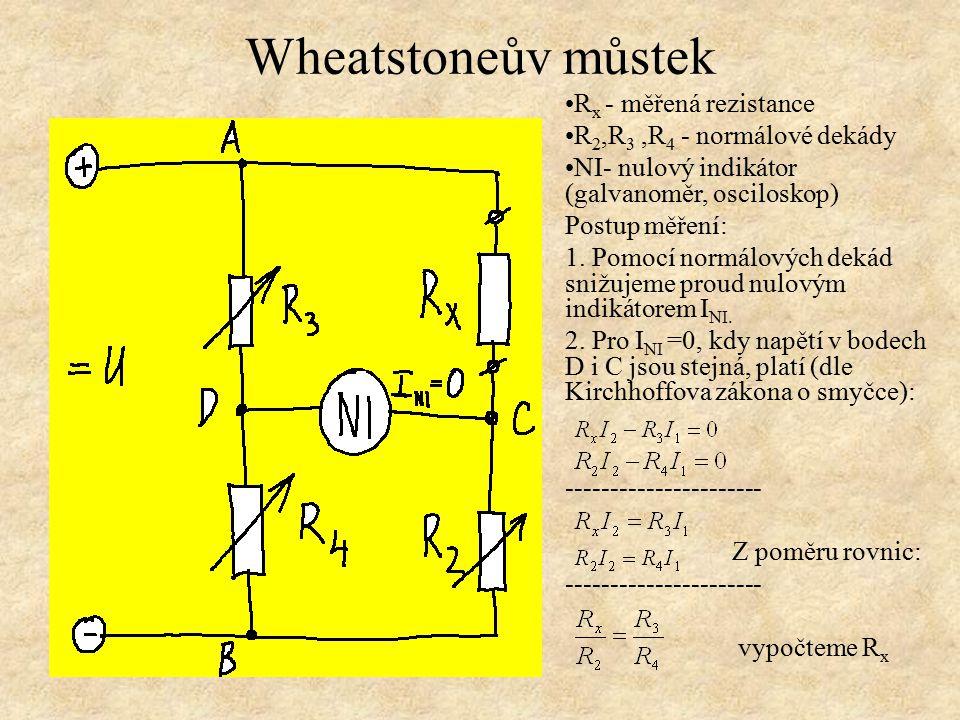 Wheatstoneův můstek Rx - měřená rezistance