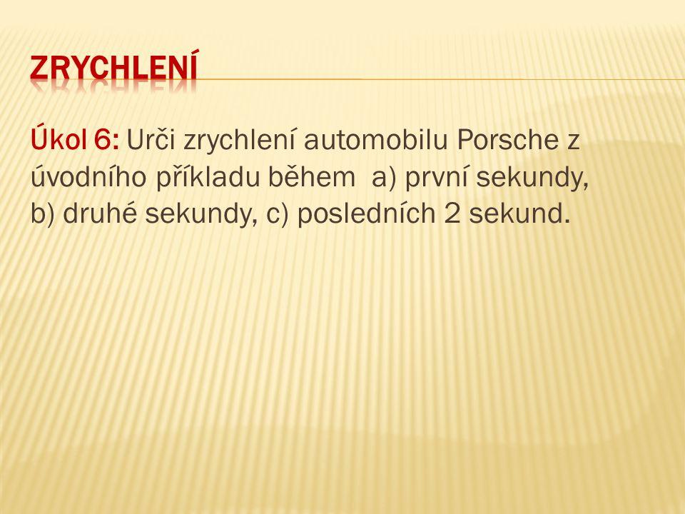 zrychlení Úkol 6: Urči zrychlení automobilu Porsche z úvodního příkladu během a) první sekundy, b) druhé sekundy, c) posledních 2 sekund.