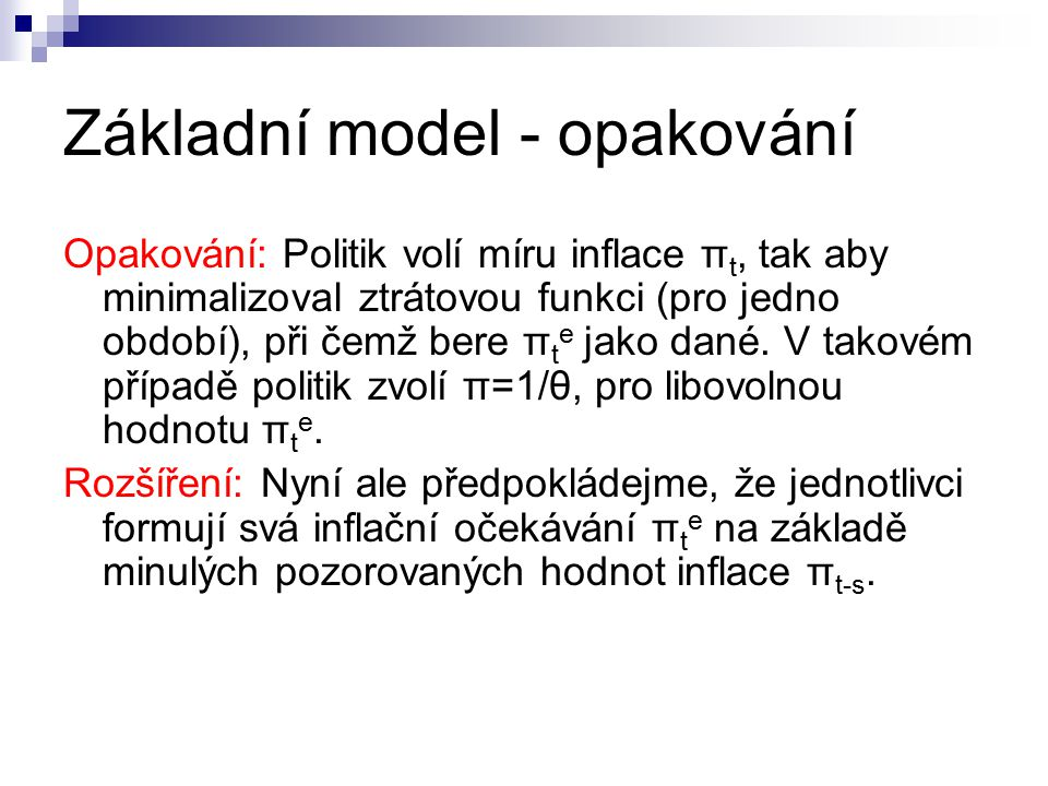 Základní model - opakování