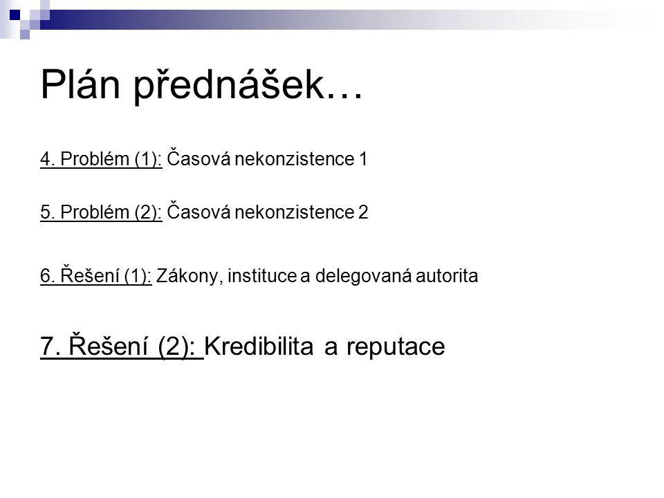 Plán přednášek… 7. Řešení (2): Kredibilita a reputace