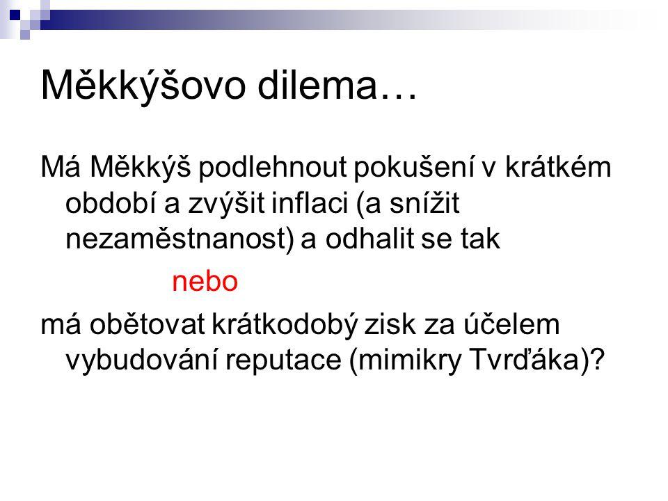 Měkkýšovo dilema… Má Měkkýš podlehnout pokušení v krátkém období a zvýšit inflaci (a snížit nezaměstnanost) a odhalit se tak.
