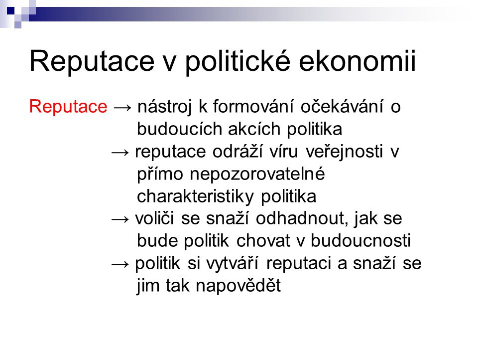 Reputace v politické ekonomii