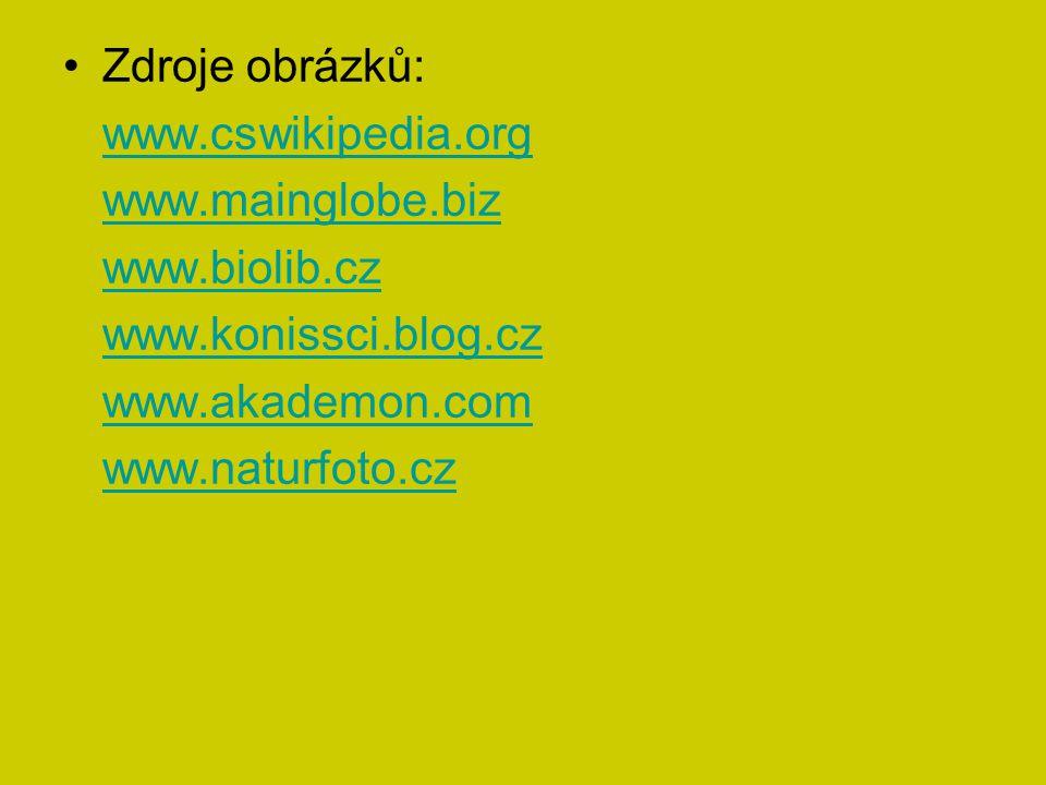Zdroje obrázků: www.cswikipedia.org. www.mainglobe.biz. www.biolib.cz. www.konissci.blog.cz. www.akademon.com.