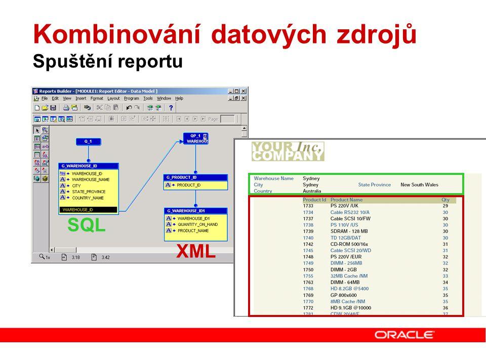 Kombinování datových zdrojů Spuštění reportu