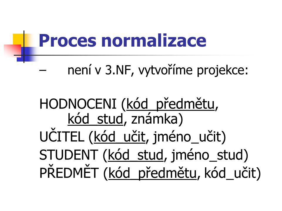 Proces normalizace HODNOCENI (kód_předmětu, kód_stud, známka)