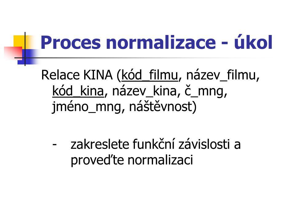 Proces normalizace - úkol