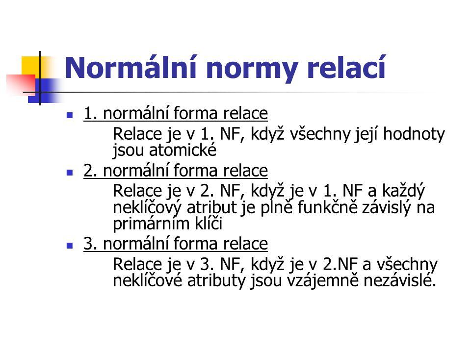 Normální normy relací 1. normální forma relace