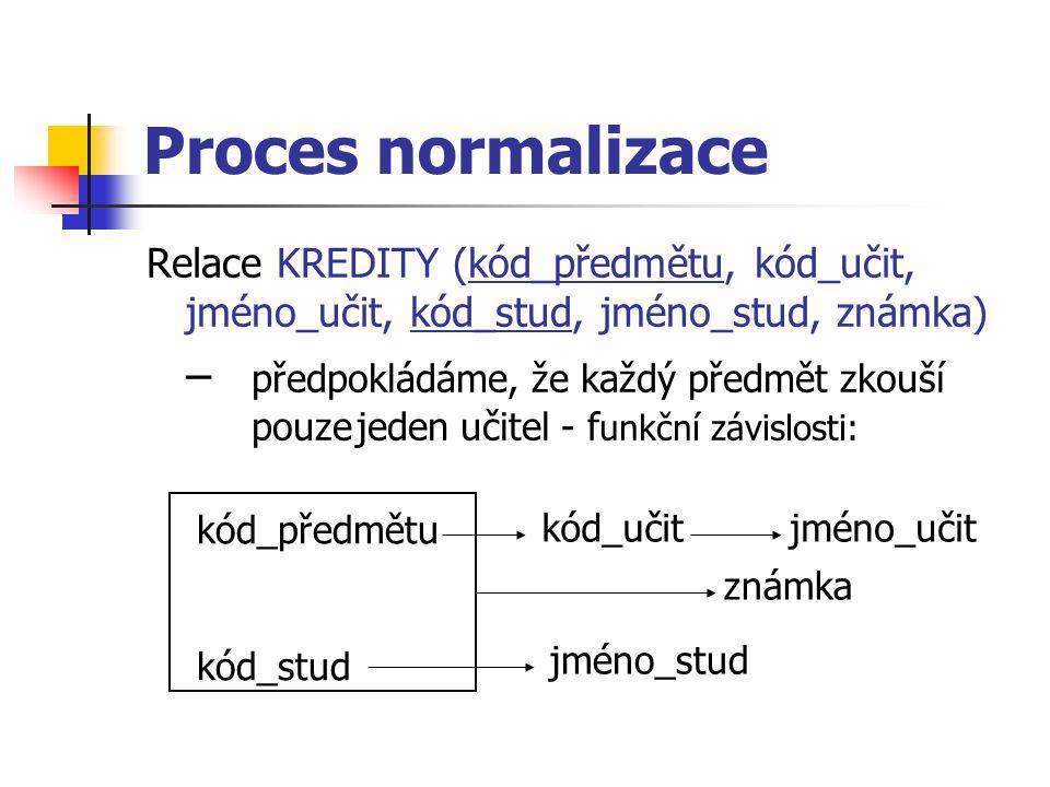 Proces normalizace Relace KREDITY (kód_předmětu, kód_učit, jméno_učit, kód_stud, jméno_stud, známka)