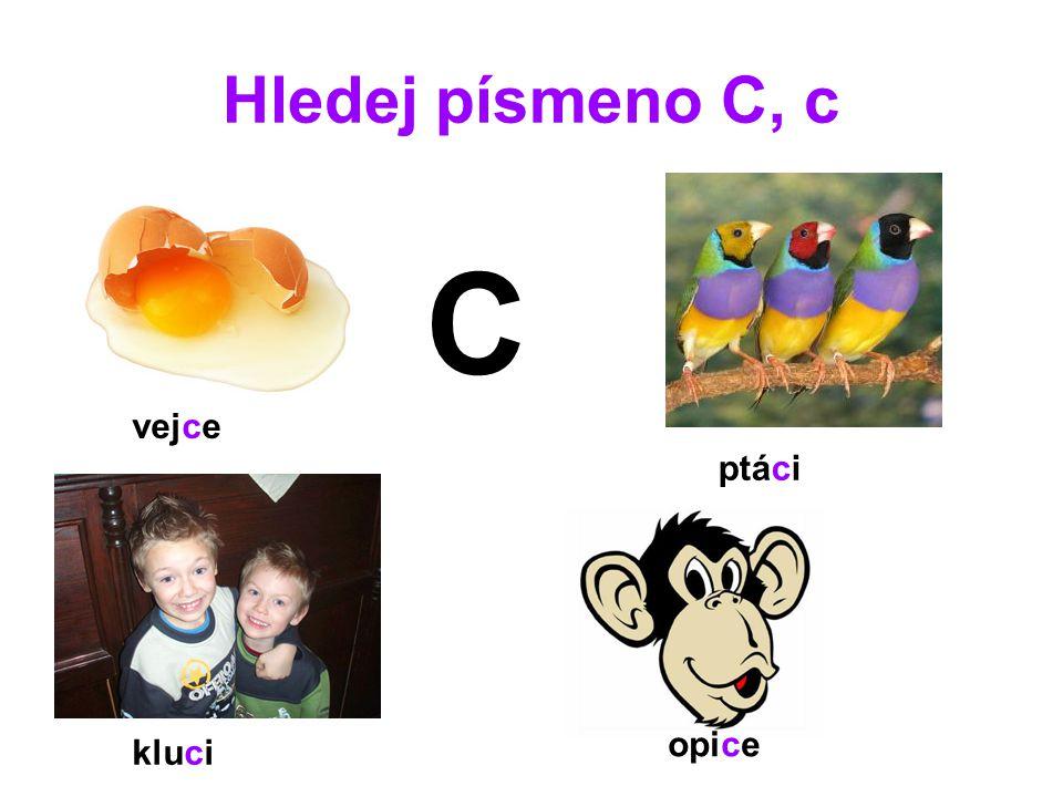 Hledej písmeno C, c C vejce ptáci opice kluci