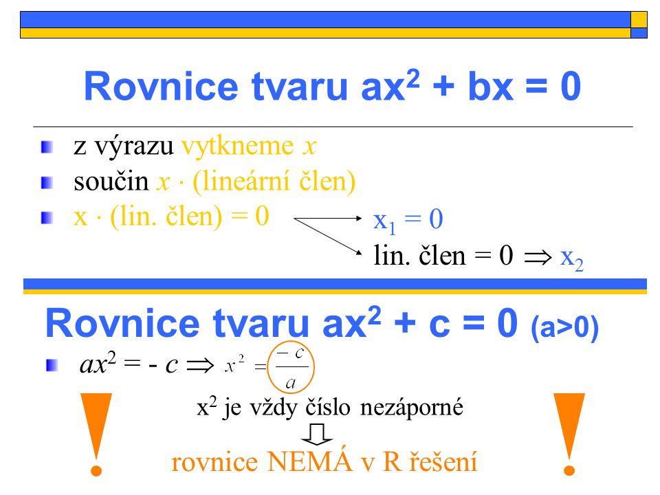 Rovnice tvaru ax2 + c = 0 (a>0)