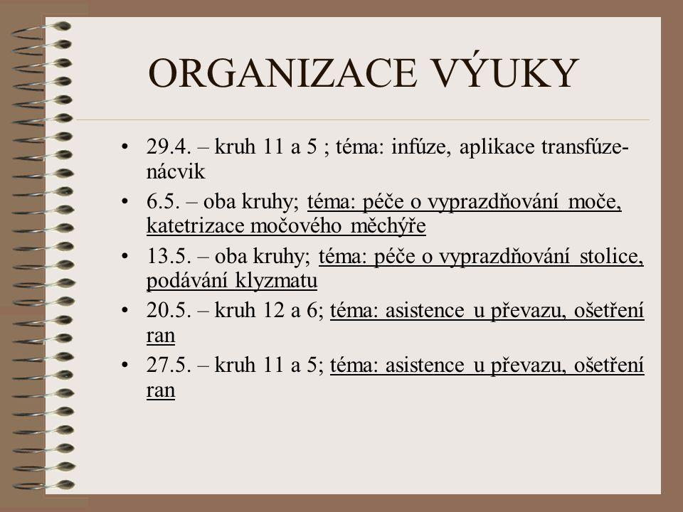 ORGANIZACE VÝUKY 29.4. – kruh 11 a 5 ; téma: infúze, aplikace transfúze- nácvik.