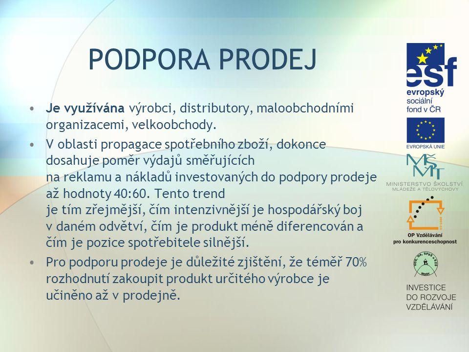 PODPORA PRODEJ Je využívána výrobci, distributory, maloobchodními organizacemi, velkoobchody.