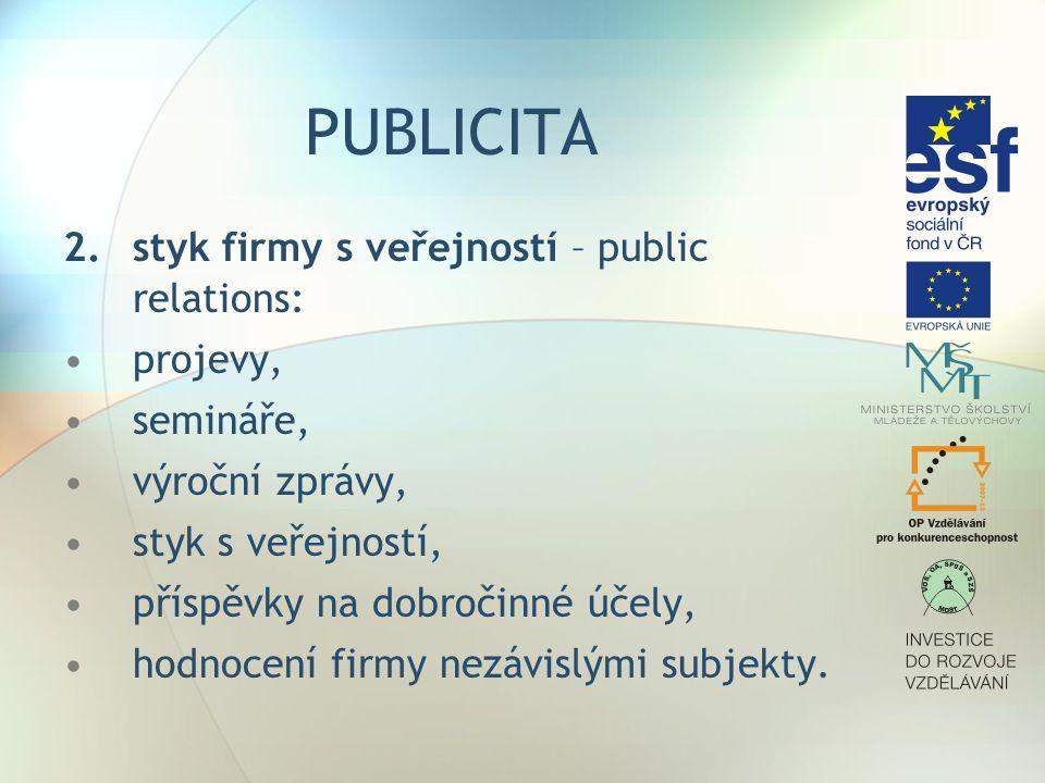 PUBLICITA 2. styk firmy s veřejností – public relations: projevy,