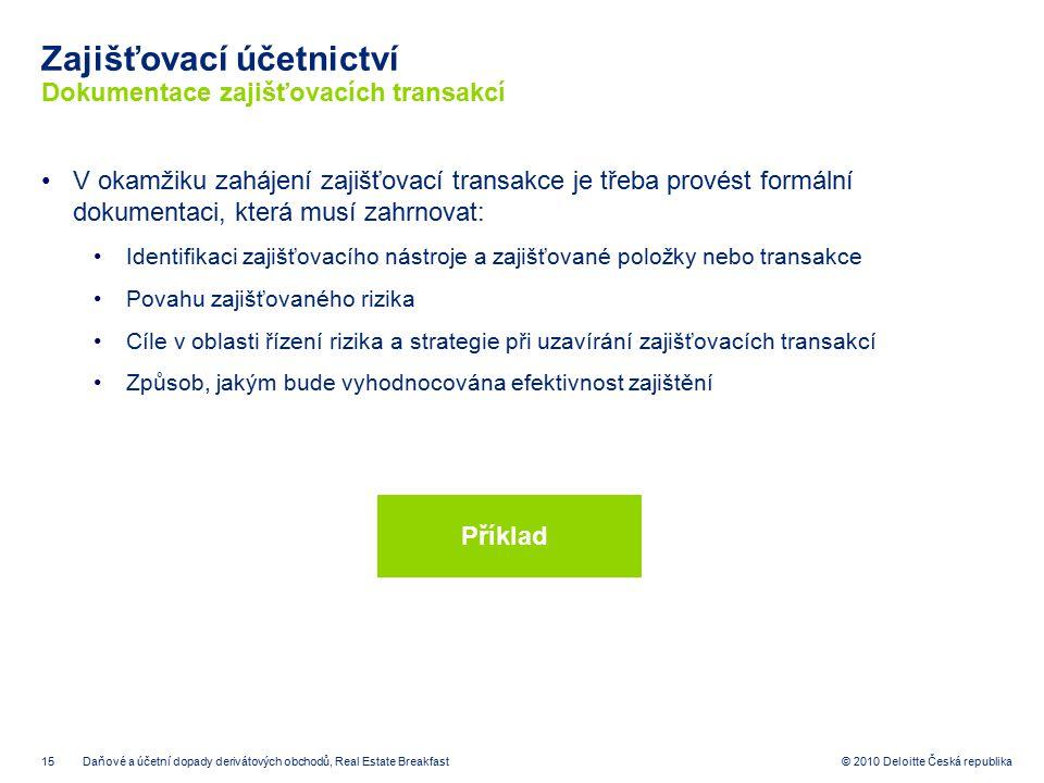 Zajišťovací účetnictví Dokumentace zajišťovacích transakcí