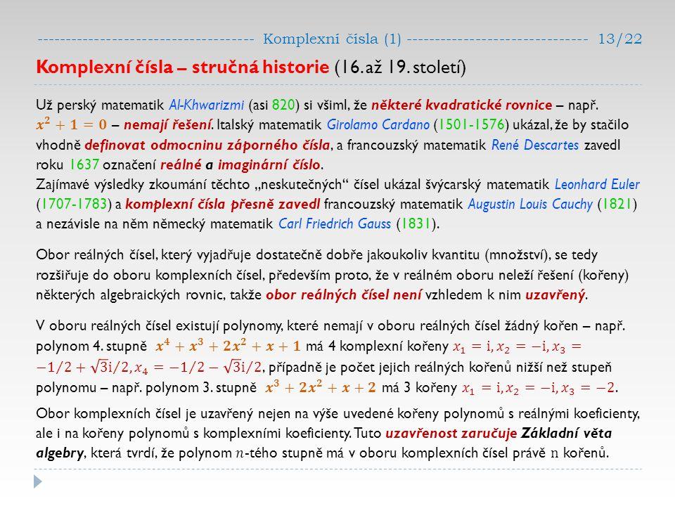 Komplexní čísla – stručná historie (16. až 19. století)