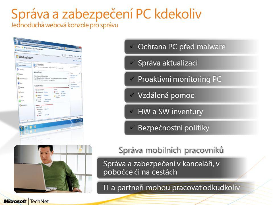 Správa a zabezpečení PC kdekoliv Jednoduchá webová konzole pro správu