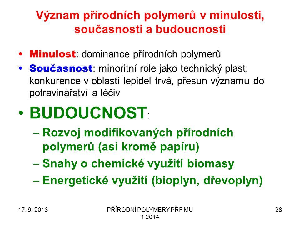 Význam přírodních polymerů v minulosti, současnosti a budoucnosti