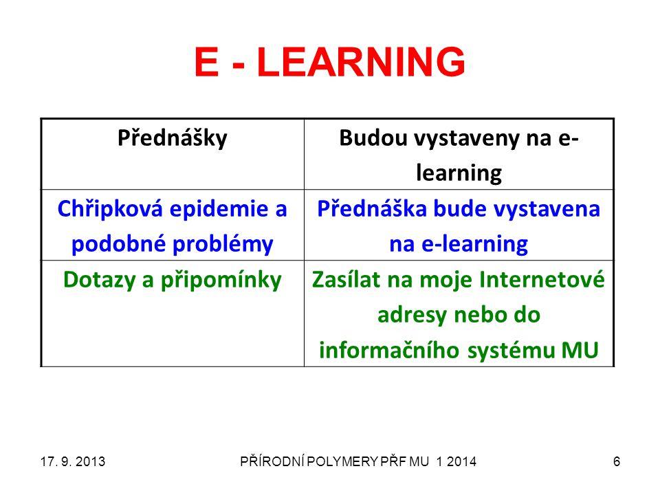 E - LEARNING Přednášky Budou vystaveny na e-learning