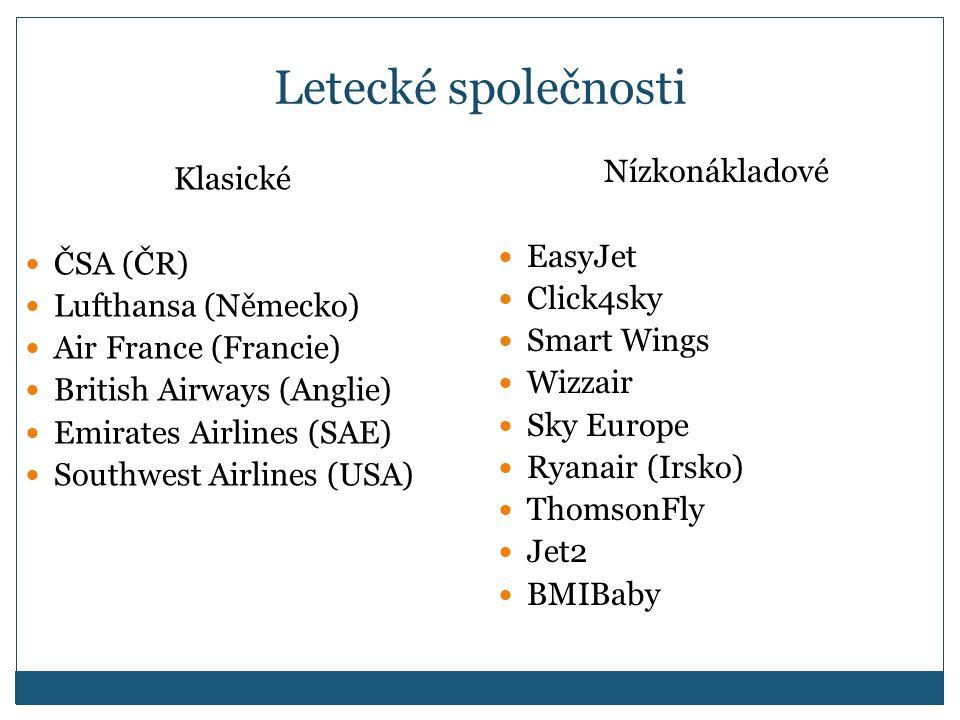 Letecké společnosti Nízkonákladové Klasické EasyJet ČSA (ČR) Click4sky