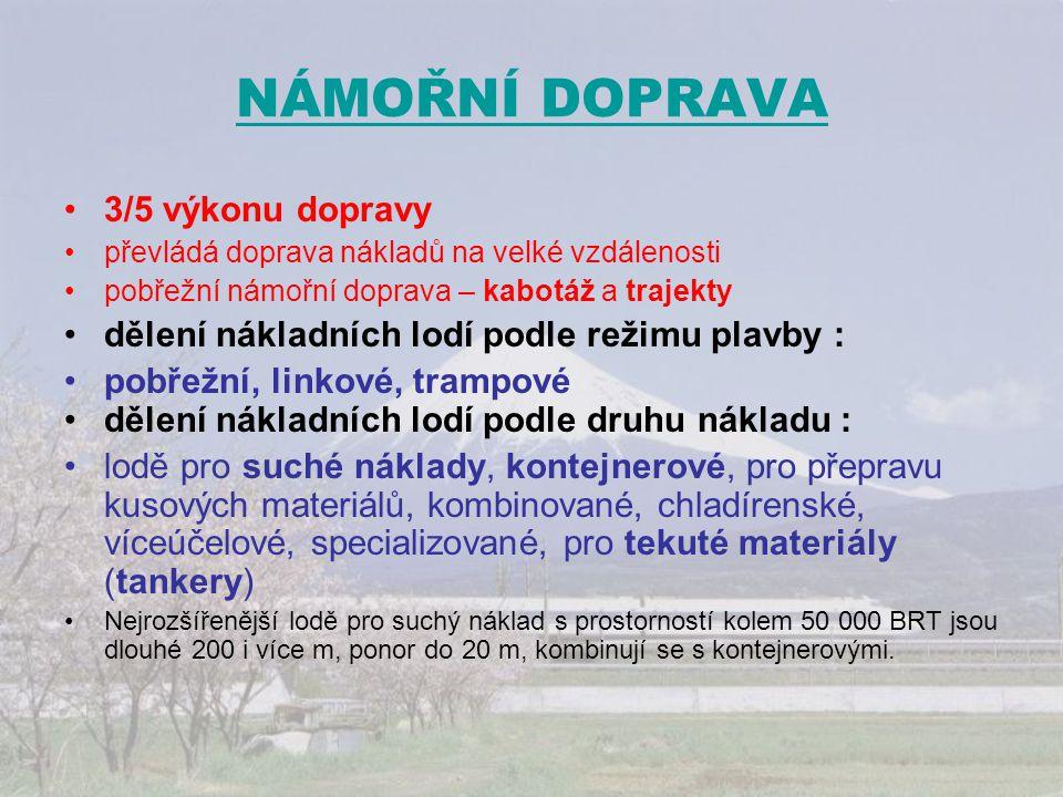 NÁMOŘNÍ DOPRAVA 3/5 výkonu dopravy