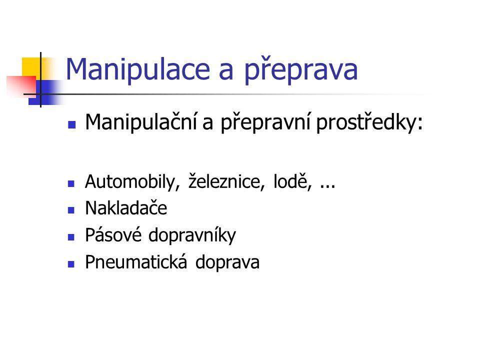 Manipulace a přeprava Manipulační a přepravní prostředky: