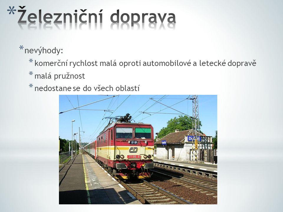 Železniční doprava nevýhody: