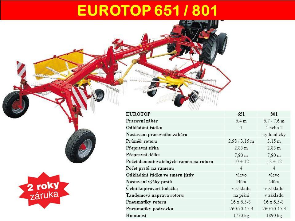 EUROTOP 651 / 801 EUROTOP 651 801 Pracovní záběr 6,4 m 6,7 / 7,6 m