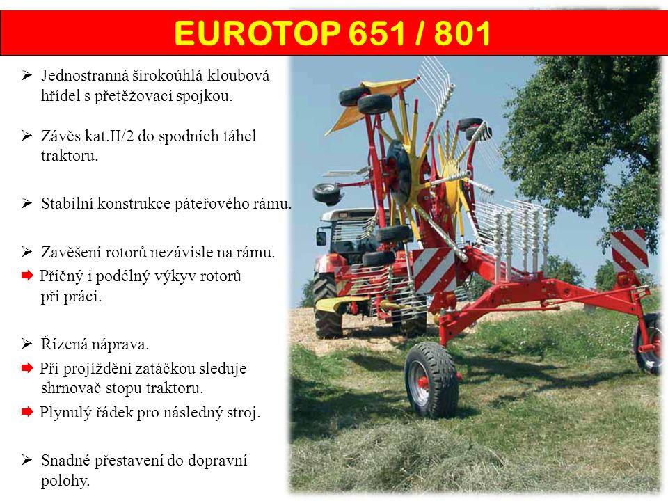 EUROTOP 651 / 801 Jednostranná širokoúhlá kloubová hřídel s přetěžovací spojkou. Závěs kat.II/2 do spodních táhel traktoru.