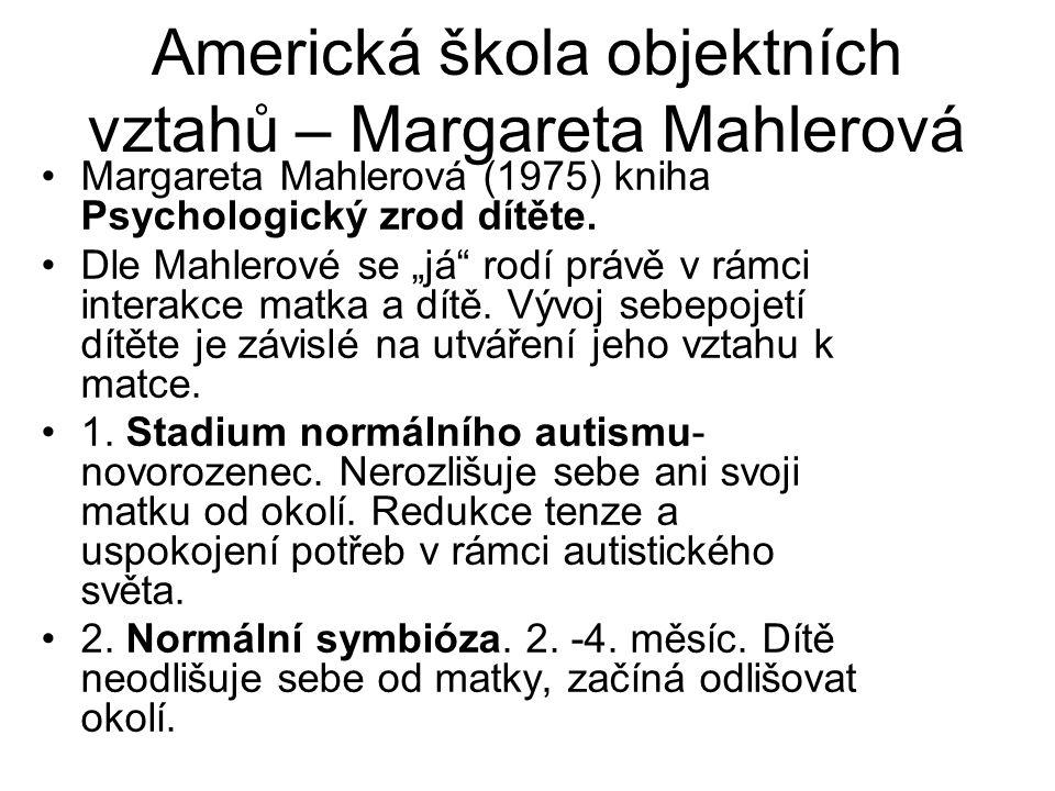 Americká škola objektních vztahů – Margareta Mahlerová