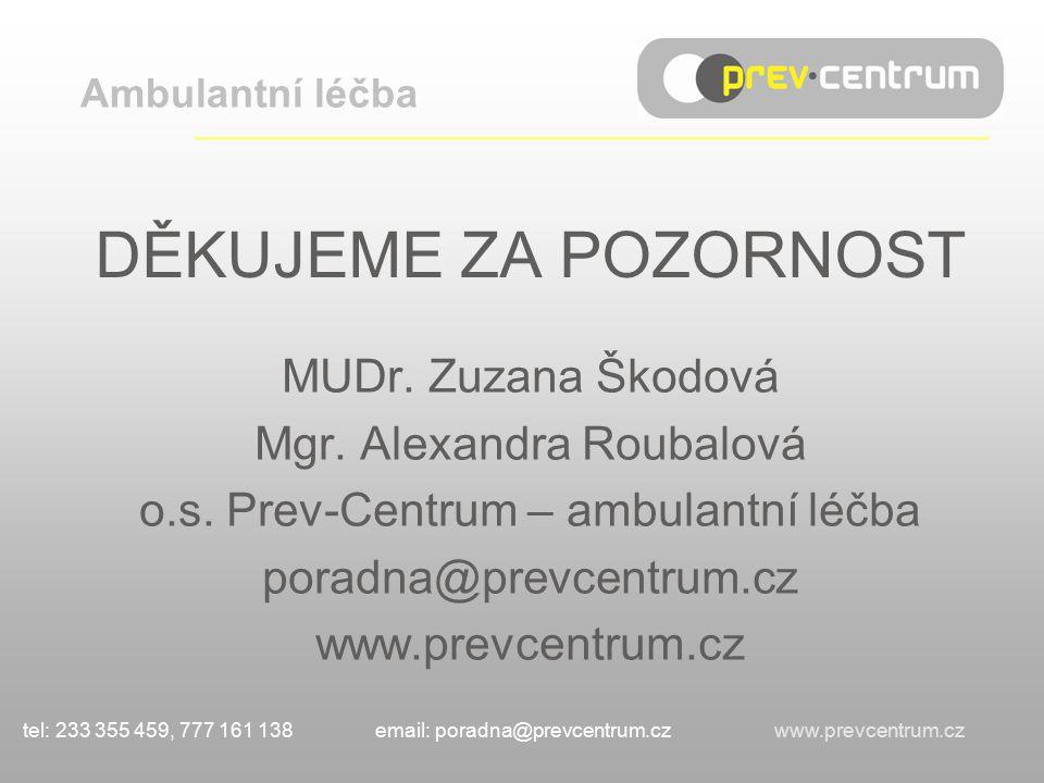 DĚKUJEME ZA POZORNOST MUDr. Zuzana Škodová Mgr. Alexandra Roubalová