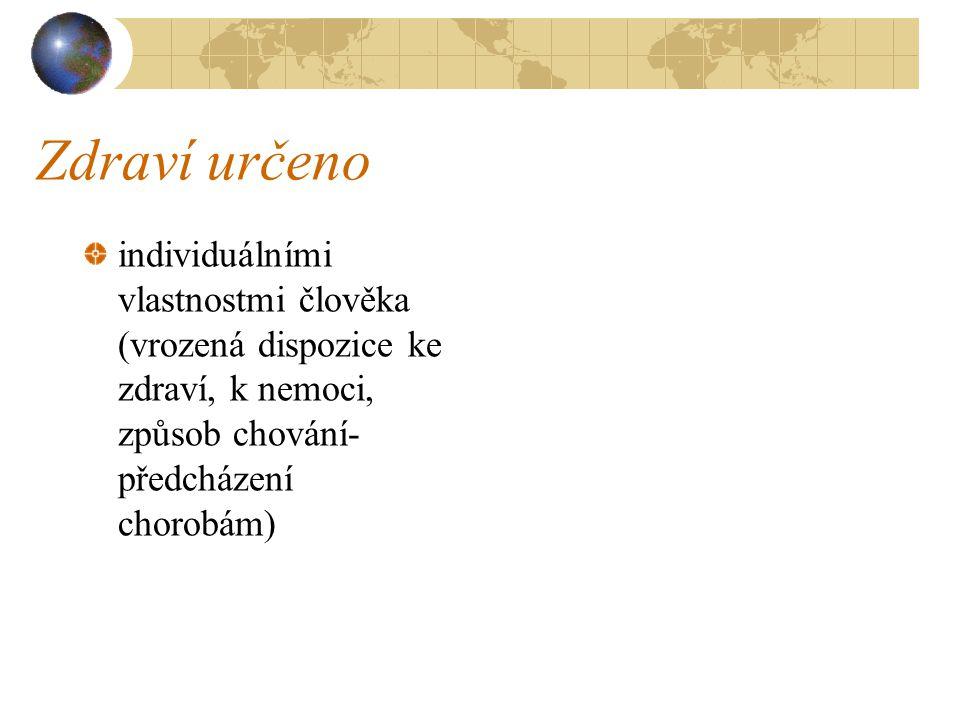 Zdraví určeno individuálními vlastnostmi člověka (vrozená dispozice ke zdraví, k nemoci, způsob chování- předcházení chorobám)