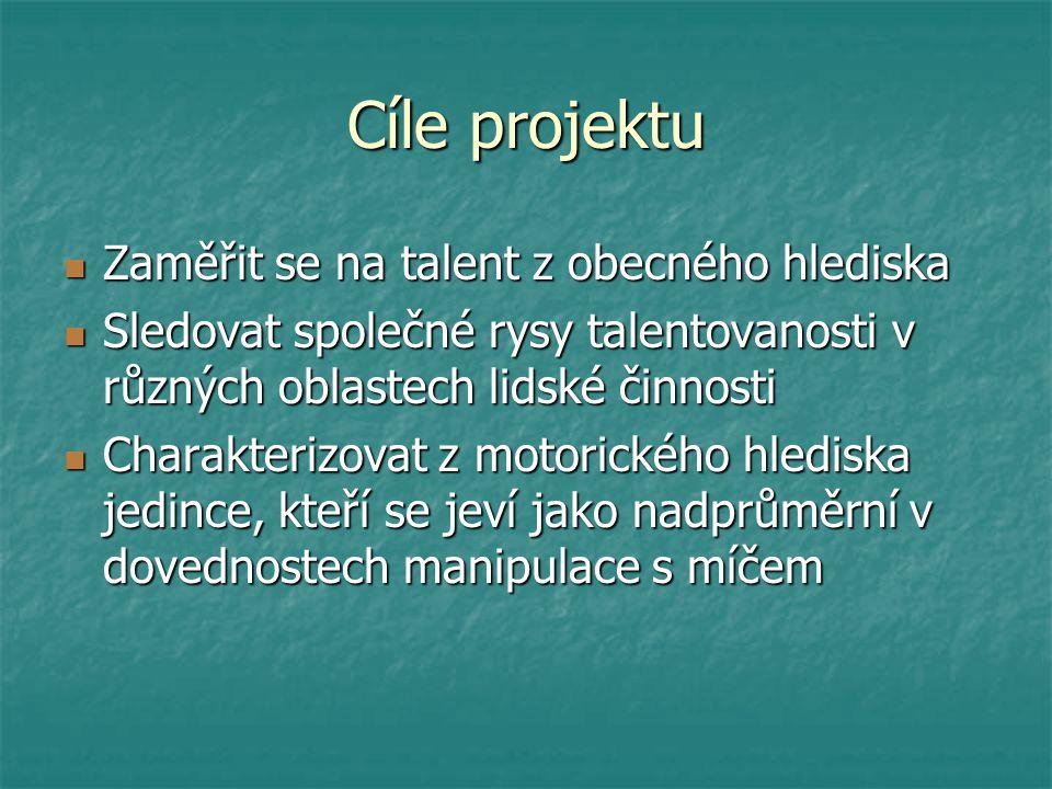 Cíle projektu Zaměřit se na talent z obecného hlediska